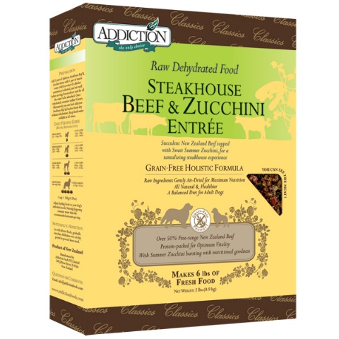 addiction grain free steakhouse beef zucchini entree raw dehydrated dog food. Black Bedroom Furniture Sets. Home Design Ideas