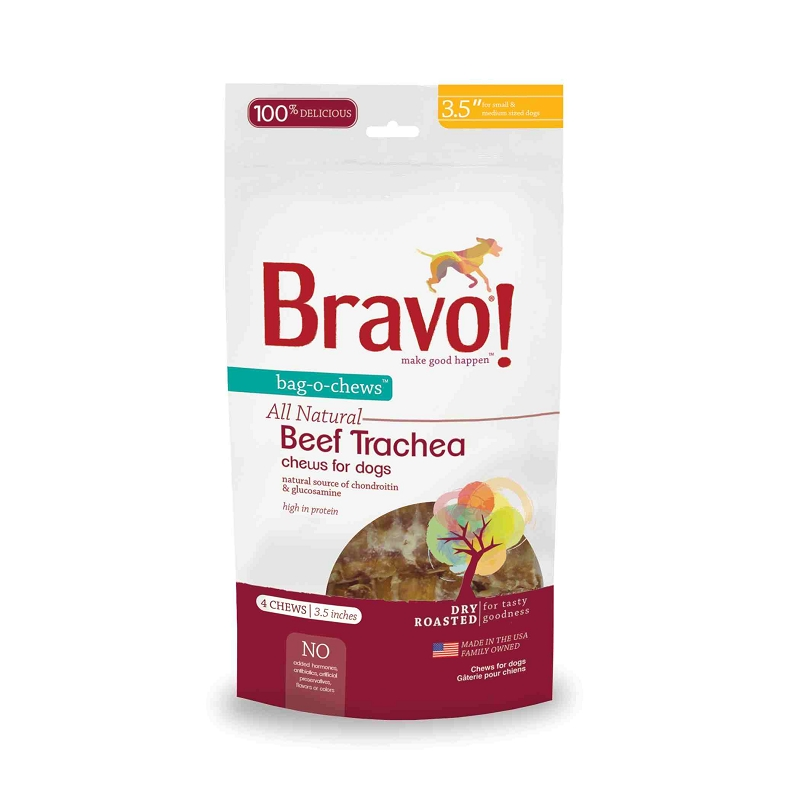 bravo bag o chews 3 5 beef trachea chews dry roasted dog treats 4 pack. Black Bedroom Furniture Sets. Home Design Ideas