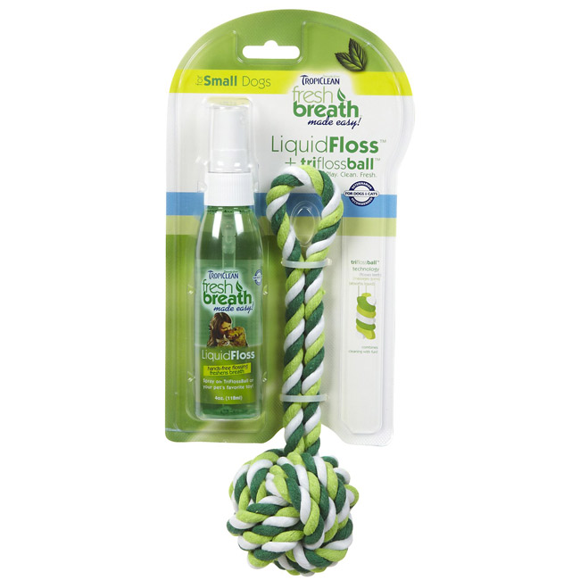 TropiClean Fresh Breath LiquidFloss Spray for Dogs with TriFlossBall Toy