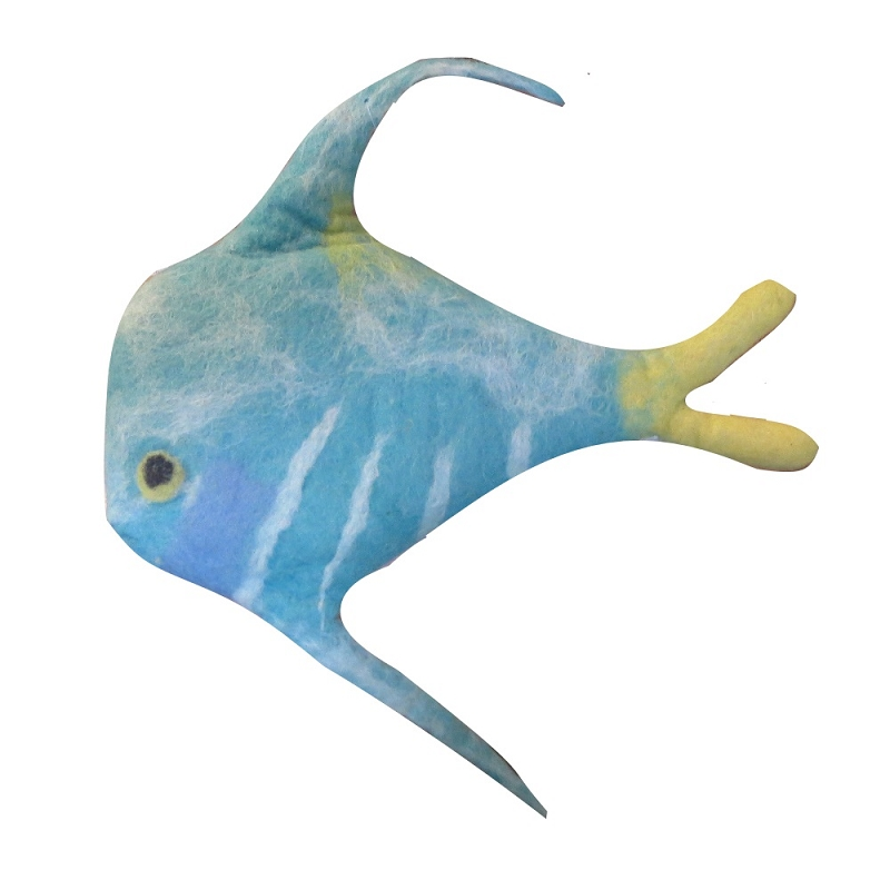 A cheerful pet teal fish wool dog toy for Fish dog toy