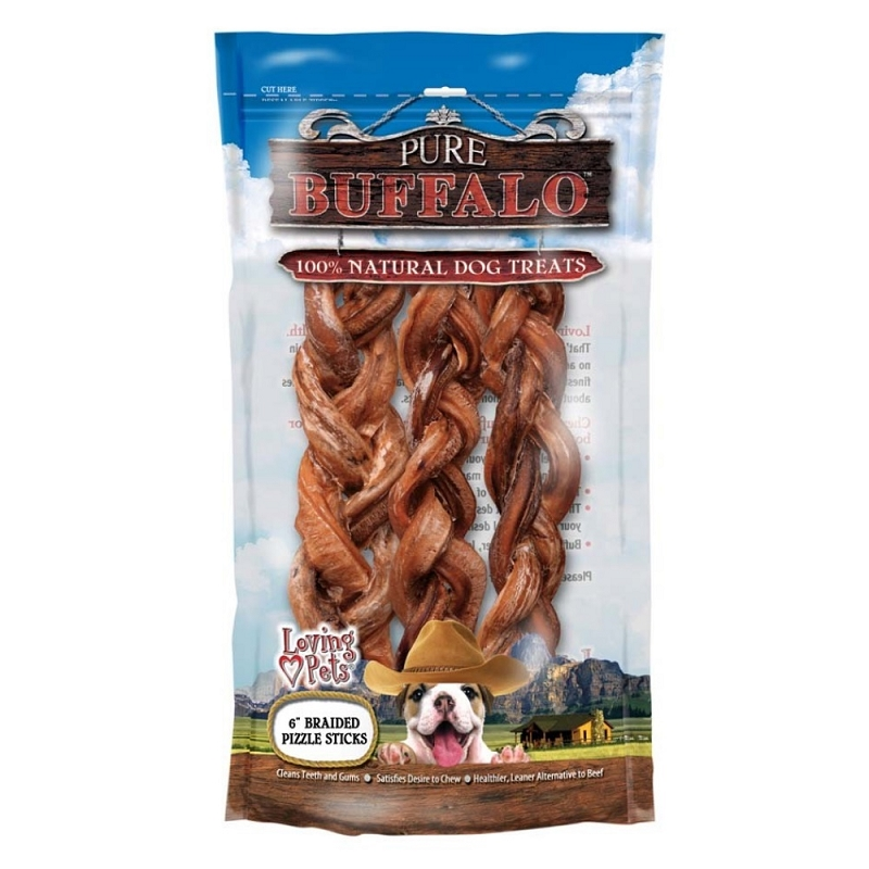 loving pets pure buffalo 6 braided bully sticks dog. Black Bedroom Furniture Sets. Home Design Ideas