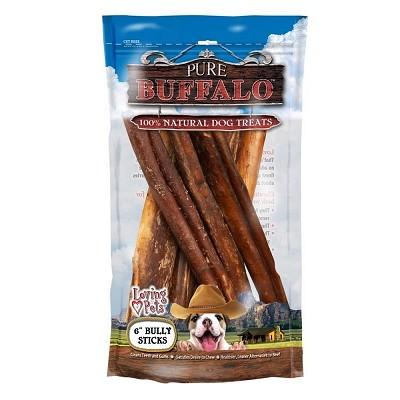 loving pets pure buffalo 6 bully sticks dog treats 6 pack naturalpet. Black Bedroom Furniture Sets. Home Design Ideas