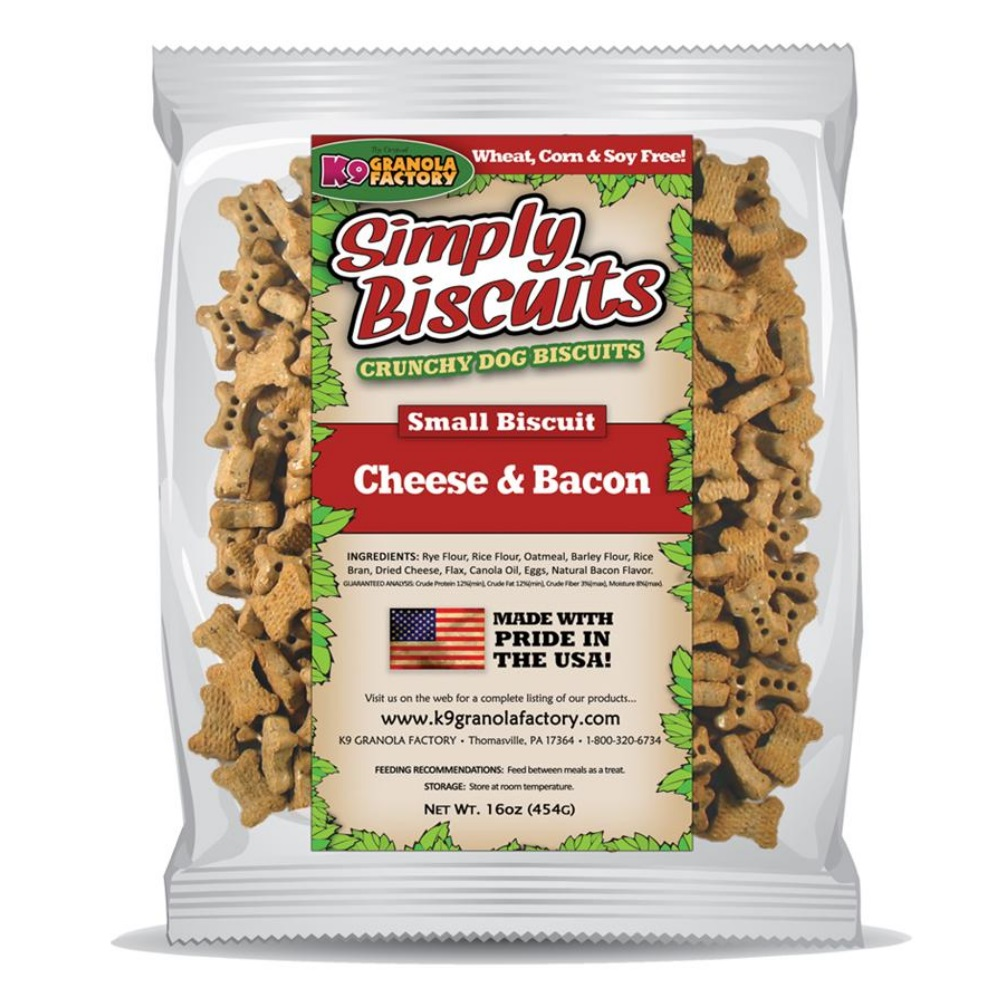 K9 Granola Factory Simply Biscuits Cheese & Bacon Dog Treats, Small