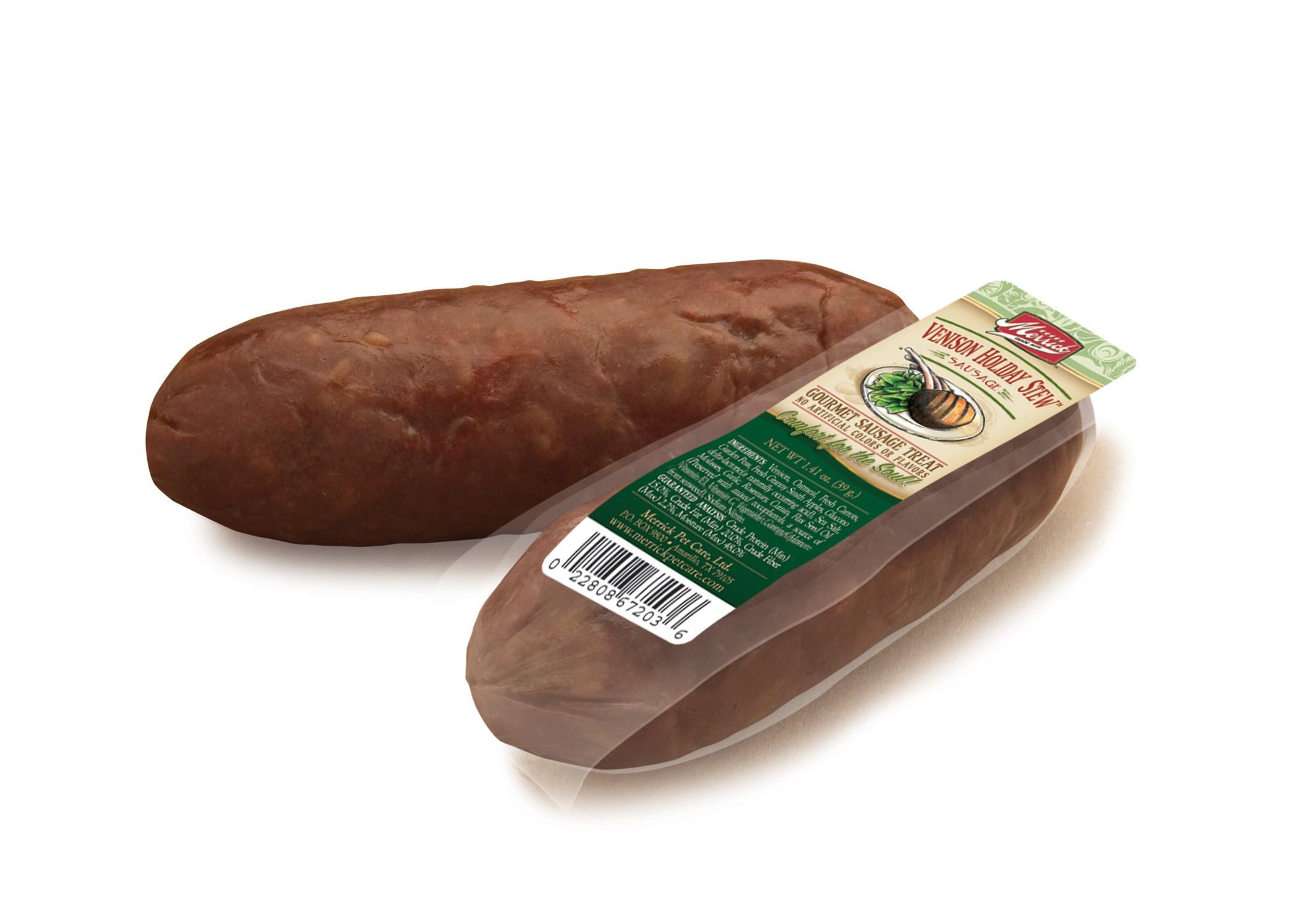 merrick venison holiday stew sausage dog treat case of 34. Black Bedroom Furniture Sets. Home Design Ideas
