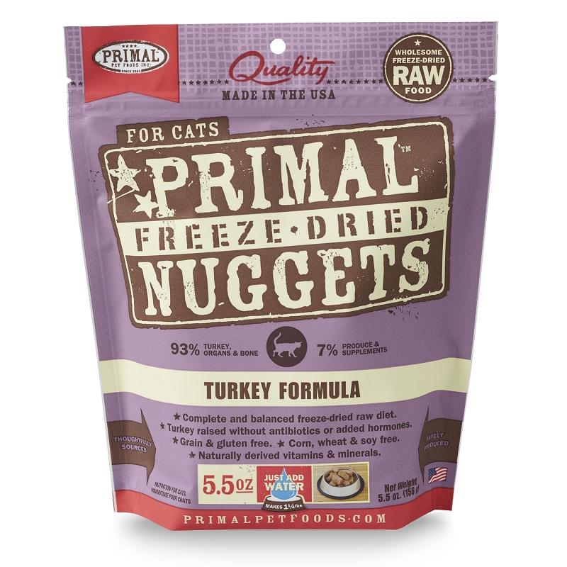 Primal Turkey Nuggets Freeze Dried Cat Food 5 5 Oz Bag