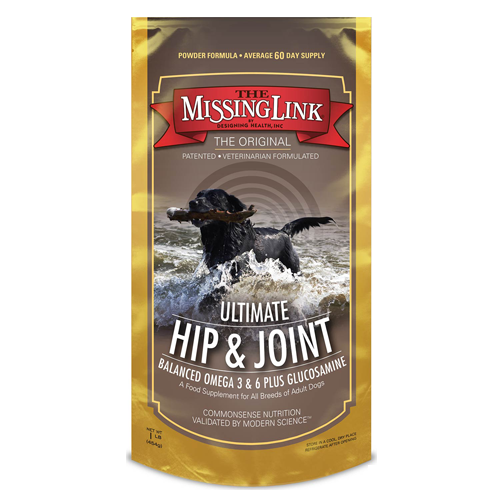 The Missing Link Ultimate Hip & Joint along with Coat Dog Supplement, 1 lb