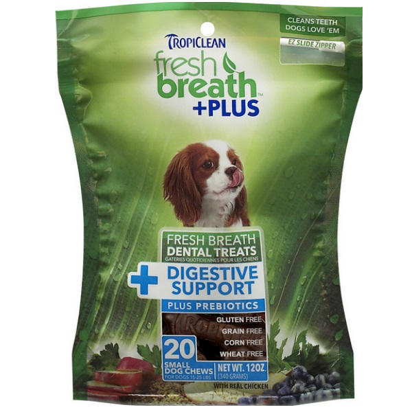 TropiClean Small Fresh Breath + Plus Pre Biotic Digestive Support Dental Dog Treats, 20 Count