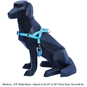 Wigzi Weatherproof Dog Harness, Blue, Medium