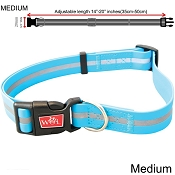Wigzi Weatherproof Dog Collar, Blue, Medium