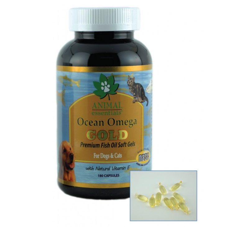 Animal essentials ocean omega gold fish oil soft gels dog for Can you give dogs fish oil