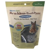 Ark Naturals Breath-Less Brushless Toothpaste Dog Chews, Medium to Large