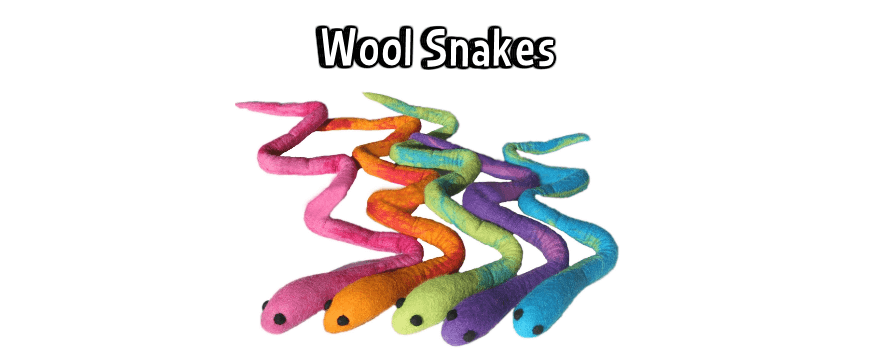 Lollycadoodle Wool Snakes Dog Toys