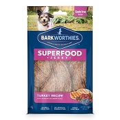 Barkworthies Superfood Jerky Turkey Recipe with Cranberry & Blueberry Dog Treats, 4-oz bag