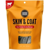 BIXBI Skin & Coat Beef Liver Jerky USA Dog Treats, 12-oz Bag