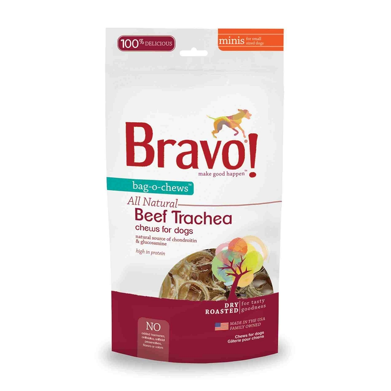 bravo bag o chews beef trachea minis dry roasted dog treats. Black Bedroom Furniture Sets. Home Design Ideas