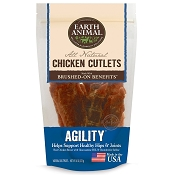 Earth Animal AGILITY Chicken Cutlets Hip & Joint Support Jerky Dog Treats, 8-oz Bag