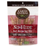 Earth Animal No-Hide Beef Recipe Stix Dog Treats, 10 Pack