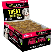 Etta Says! Crunchy Pork + Apples Chew Bars Dog Treats, 12 count