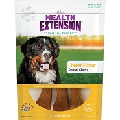 Health Extension Cheese Flavor Dental Bones Dog Treats, Large