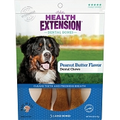 Health Extension Peanut Butter Flavor Dental Bones Dog Treats, Large
