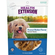 Health Extension Peanut Butter Flavor Dental Bones Dog Treats, Small
