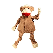 HuggleHounds Plush Corduroy Knotties Sock Monkey Dog Toy, Large
