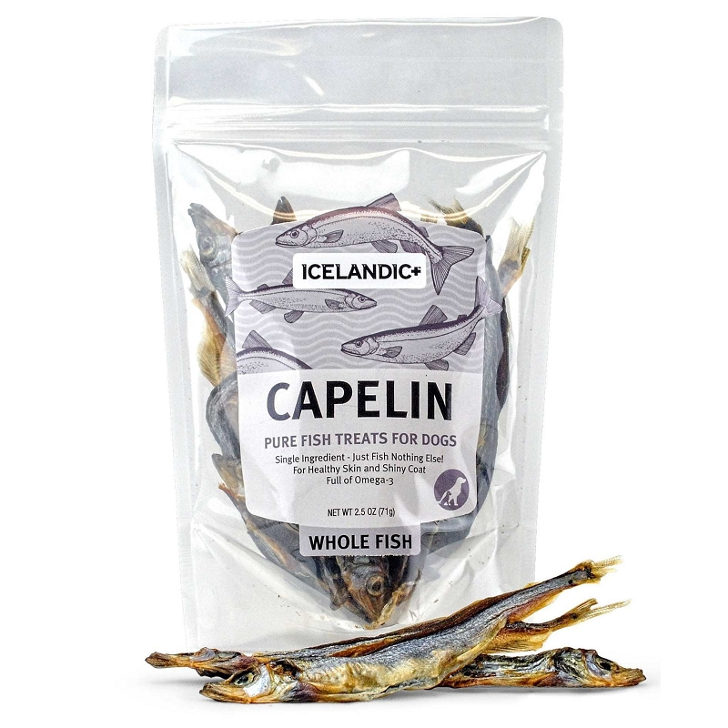 Icelandic capelin pure fish treats for dogs 2 5 oz bag for Fish for dogs