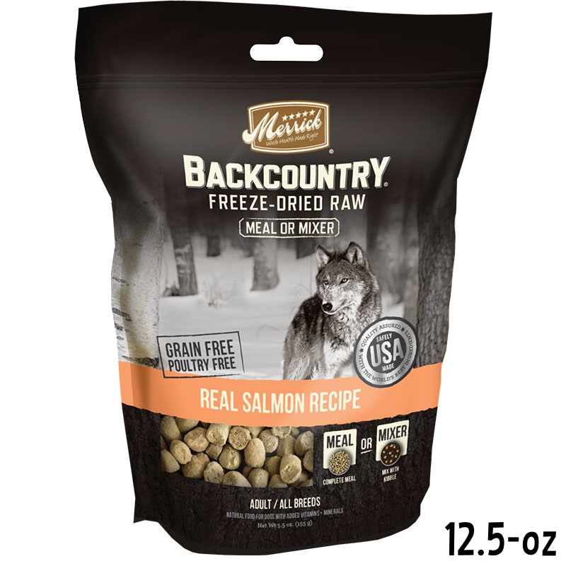 merrick backcountry freeze dried raw real salmon recipe grain free freeze dried dog food 12 5. Black Bedroom Furniture Sets. Home Design Ideas