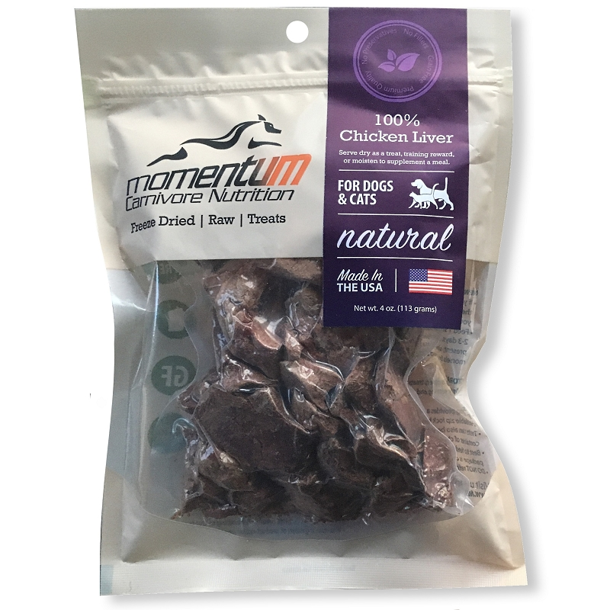 Momentum Chicken Liver Freeze Dried Dog Cat Treats 4 Oz Bag Naturalpetwarehouse Com