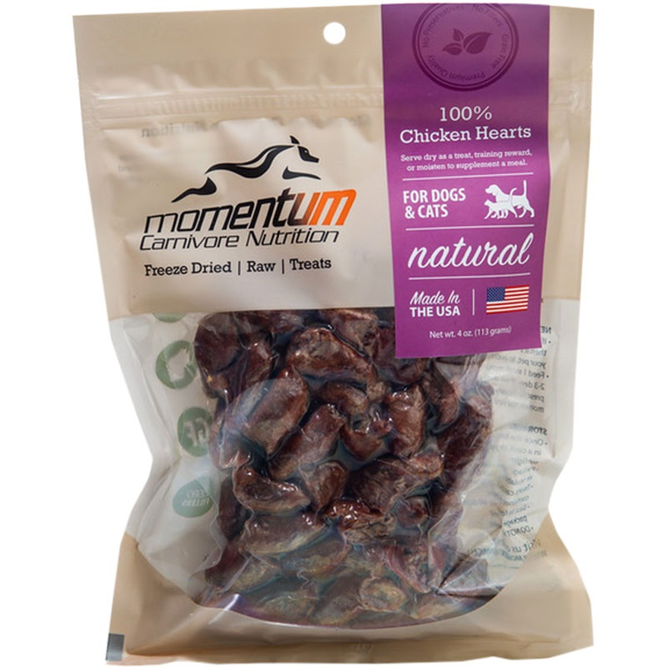 Momentum Freeze Dried Chicken Heart Dog Treats 4 Oz Bag
