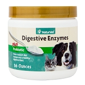 NaturVet Digestive Enzymes with Prebiotics and Probiotics Dog and Cat Powder Supplement, 16 oz