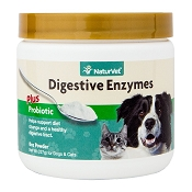 NaturVet Digestive Enzymes with Prebiotics and Probiotics Dog and Cat Powder Supplement, 8 oz