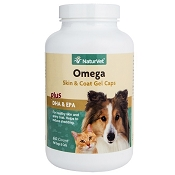 NaturVet Omega Fish Oil Gel Caps Dog Supplement, 60 count