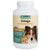 NaturVet Omega Skin & Coat Gel Caps for Dogs and Cats