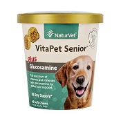 NaturVet VitaPet Senior Plus Glucosamine Soft Chews for Dogs, 60-Count