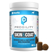 Nootie Progility Skin & Coat With Probiotics Supplement for Dogs, 90 Soft Chews
