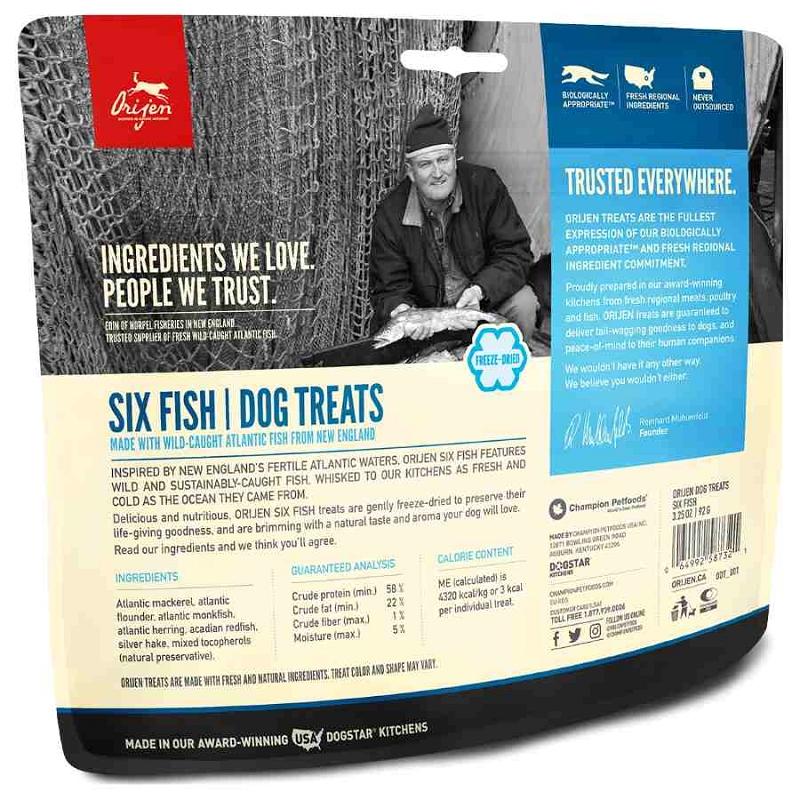 Orijen Six Fish Freeze Dried Dog Treats 3 25 Oz Bag