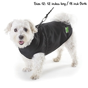 Pawz Black 1Z Coat with Built-In Dog Harness, 12