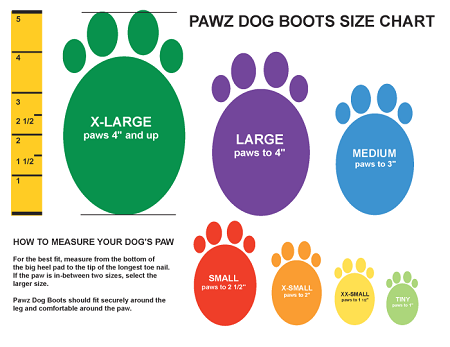 Pawz Boot Sizing Chart