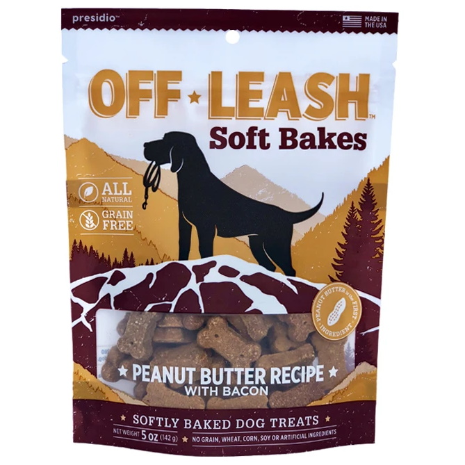 Presidio Off Leash Soft Bakes Peanut Butter With Bacon Dog Treats 5 Oz Bag Naturalpetwarehouse Com