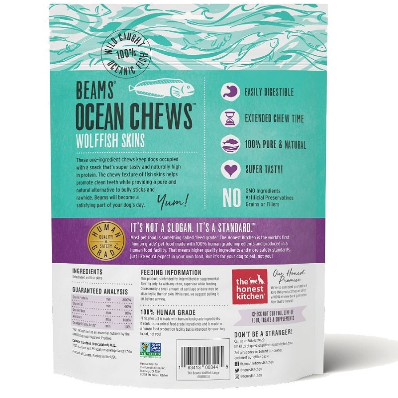 The Honest Kitchen Beams Ocean Chews Wolffish Skins