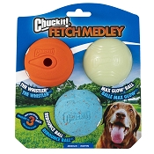 Chuckit! Fetch Ball Medley Triple Pack Dog Toy, Medium