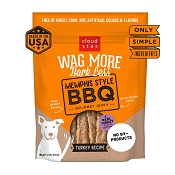 Cloud Star Wag More Bark Less Memphis Style BBQ Turkey Recipe Grain-Free Jerky Dog Treats, 10-oz bag