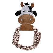Country Tails Daisy Cow Rope Ring Natural Dog Toy