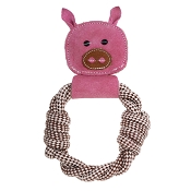 Country Tails Peggy Pig Rope Ring Natural Dog Toy