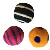Dharma Dog Karma Cat Ball Wool Toys LG, 3-Pack