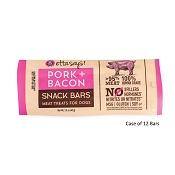 Etta Says! Pork + Bacon Snack Bars Meat Dog Treats, Case of 12