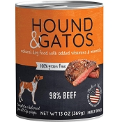 Hound & Gatos 98% Beef Grain-Free Dog Food, 13-oz, case of 12