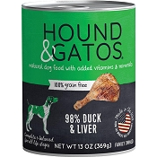 Hound & Gatos 98% Duck & Liver Grain-Free Canned Dog Food, 13-oz, case of 12