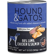 Hound & Gatos 98% Lamb, Chicken & Salmon Grain-Free Canned Dog Food, 13-oz, case of 12